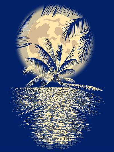 Reflected in the Ocean Full Moon on Vagator, Goa, India on a Dark Blue Background with Silhouettes-yulianas-Art Print
