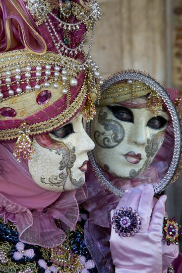Reflection in Mirror Venice at Carnival Time, Italy-Darrell Gulin-Photographic Print