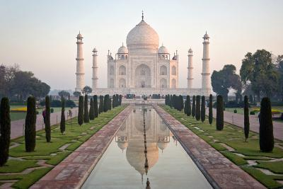 Reflection of a Mausoleum in Water, Taj Mahal, Agra, Uttar Pradesh, India--Photographic Print