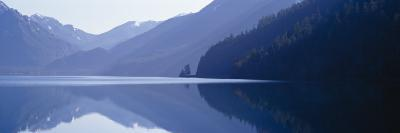 Reflection of a Mountain in a Lake, Lake Crescent, Olympic National Park, Washington State, USA--Photographic Print