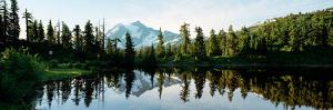 Reflection of a Mountain in a Lake, Picture Lake, Mt Shuksan, North Cascades National Park
