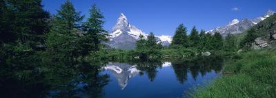 Reflection of a Snow Covered Mountain in a Lake, Grindjisee, Matterhorn, Zermatt, Switzerland--Photographic Print