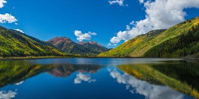Reflection of clouds and mountain in Crystal Lakes, U.S. Route 550, Colorado, USA--Photographic Print
