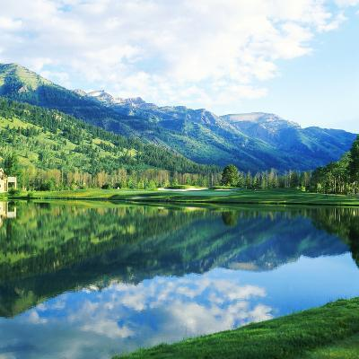Reflection of Clouds on Water, Teton Pines Golf Course, Jackson, Wyoming, USA--Photographic Print