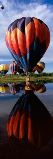 Reflection of Hot Air Balloons in a Lake, Hot Air Balloon Rodeo, Steamboat Springs, Routt County--Photographic Print