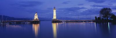 Reflection of Lighthouse in the Lake Constance, Lindau, Germany--Photographic Print