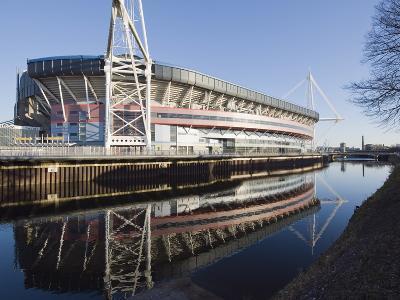 Reflection of Millennium Stadium in River Taff, Cardiff, Wales, United Kingdom, Europe-Christian Kober-Photographic Print