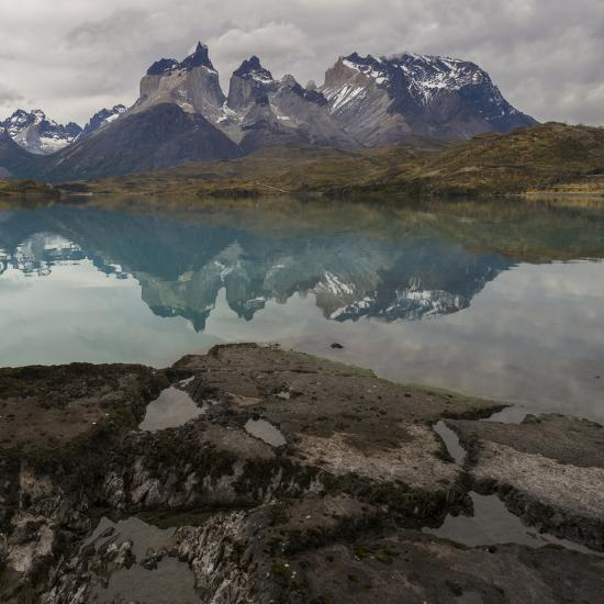 Reflection of Mountain Peak in a Lake, Torres Del Paine, Lake Pehoe--Art Print
