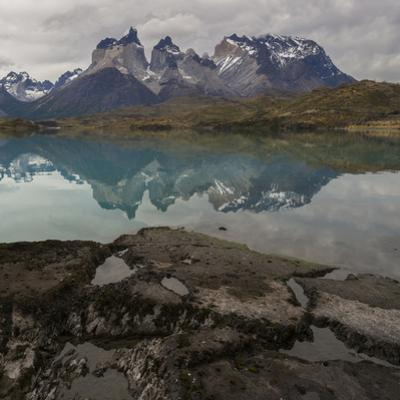 Reflection of Mountain Peak in a Lake, Torres Del Paine, Lake Pehoe