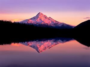 Reflection of mountain range in a lake, Mt Hood, Lost Lake, Mt Hood National Forest, Oregon, USA