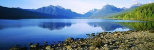 Reflection of Rocks in a Lake, Mcdonald Lake, Glacier National Park, Montana, USA