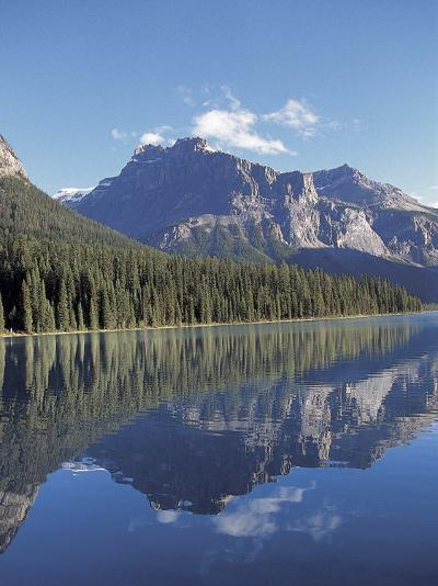 Reflection of Rugged Mountains and Lush Pine Forest in Placid and Serene Lake--Photographic Print
