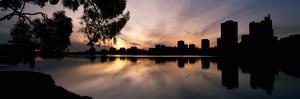 Reflection of Skyscrapers in a Lake, Lake Merritt, Oakland, California, USA