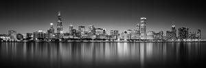 Reflection of skyscrapers in a lake, Lake Michigan, Digital Composite, Chicago, Cook County, Ill...