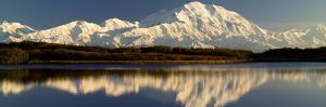 Reflection of Snow Covered Mountains on Water, Mt Mckinley, Denali National Park, Alaska, USA