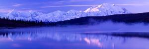 Reflection of Snow Covered Mountains on Water, Mt Mckinley, Wonder Lake, Denali National Park