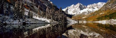 Reflection of Snowy Mountains in the Lake, Maroon Bells, Elk Mountains, Colorado, USA--Photographic Print