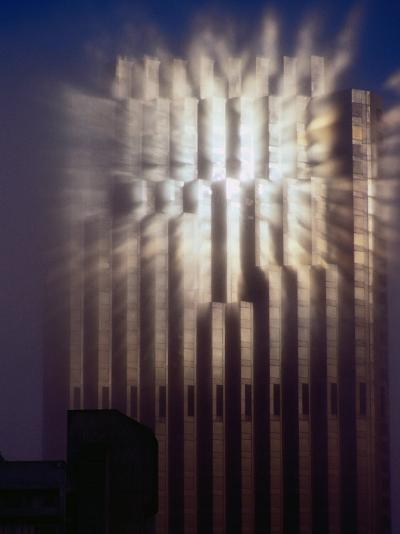 Reflection of Sun of Bank of America Building Through Fog, San Francisco, California, USA-Richard I'Anson-Photographic Print