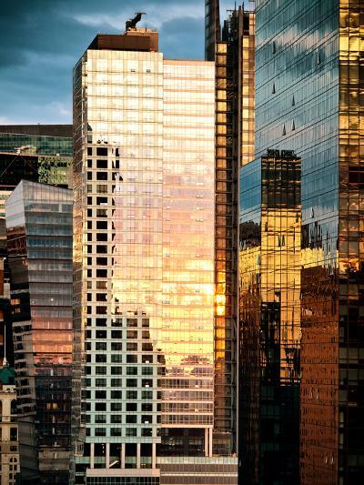 Reflection of the Sunset on the Windows of Buildings at Manhattan, Times Square, NYC, US, USA-Philippe Hugonnard-Photographic Print
