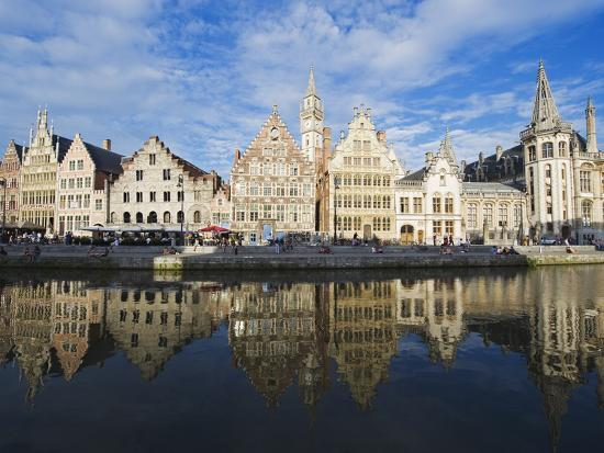 Reflection of Waterfront Town Houses, Ghent, Flanders, Belgium, Europe-Christian Kober-Photographic Print