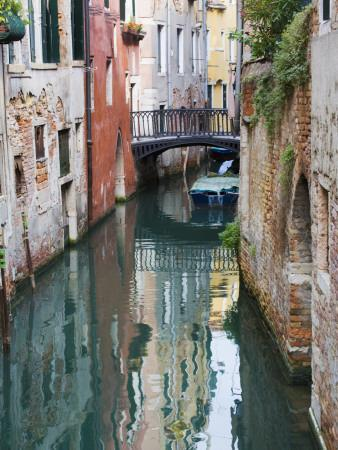 Reflections and Small Bridge of Canal of Venice, Italy-Terry Eggers-Premium Photographic Print