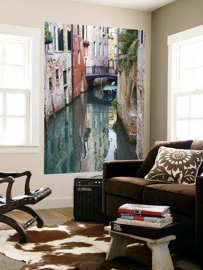 Reflections and Small Bridge of Canal of Venice, Italy-Terry Eggers-Giant Art Print