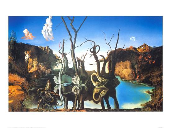 Reflections of Elephants-Salvador Dal?-Art Print