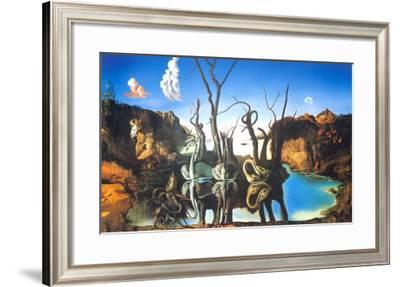 Reflections of Elephants-Salvador Dalí-Framed Art Print