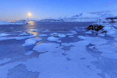 Reflections of Full Moon in the Frozen Sea, Lyngedal, Lofoten Islands, Arctic, Norway, Scandinavia-Roberto Moiola-Photographic Print