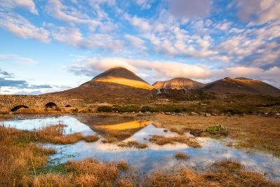 Reflections on a Lochan at Sligachan Bridge on the Isle of Skye, Scotland UK-Tracey Whitefoot-Photographic Print