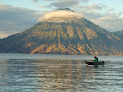 Reflections on Lake Atitlan with Fishing Boat, Panajachel, Western Highlands, Guatemala-Cindy Miller Hopkins-Photographic Print