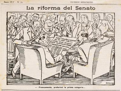 Reform of Senate, Cartoon from Guerin Meschino, 1926, Italy--Giclee Print