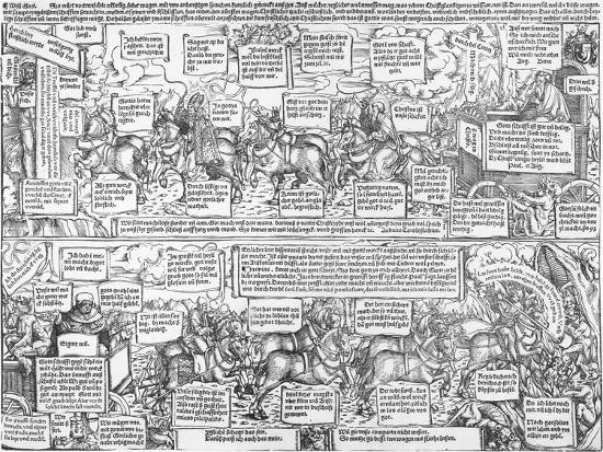Reformatorical Pamphlet - the Divine and Infernal Carriage of Andreas Karlstadt, C.1519-1600-Lucas Cranach the Elder-Giclee Print