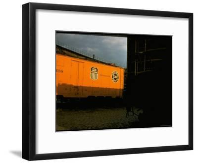 Refrigerated Box Car with the Union Pacific Railroad Logo and Southern Pacific Line-Walker Evans-Framed Premium Photographic Print