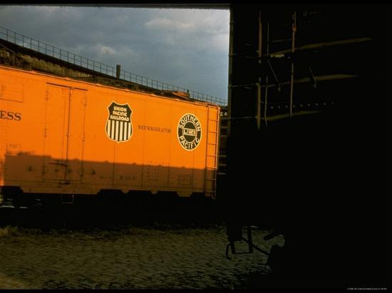Refrigerated Box Car with the Union Pacific Railroad Logo and Southern Pacific Line-Walker Evans-Photographic Print