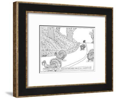 """Refugees Fleeing Ethnic Roasting Somewhere Along Rt. 67, Connecticut"" - New Yorker Cartoon-Jack Ziegler-Framed Premium Giclee Print"