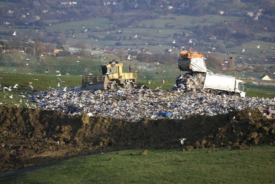 Refuse Truck at Landfill--Photographic Print