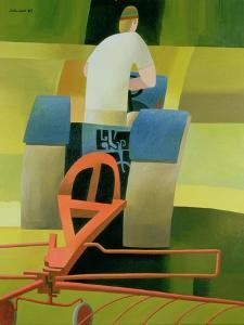 The Blue Tractor, 1984 by Reg Cartwright