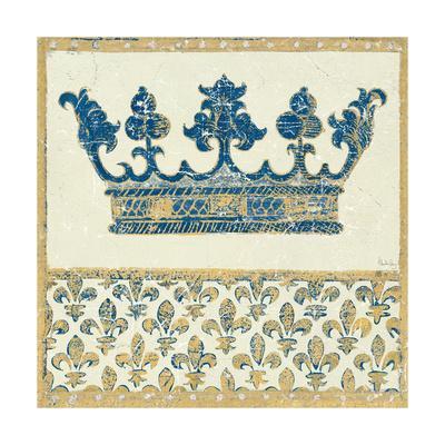 Regal Crown Indigo and Cream-Designs Meloushka-Art Print