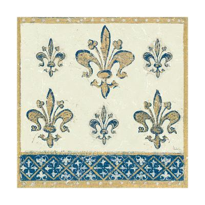 Regal Fleur de Lis Indigo and Cream-Designs Meloushka-Art Print