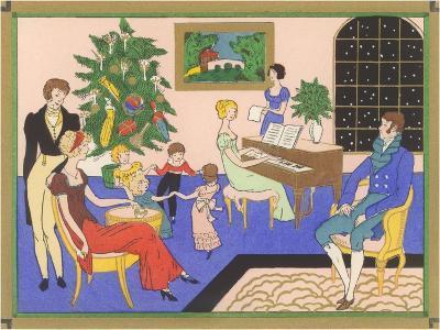 Regency Family Christmas Scene--Art Print