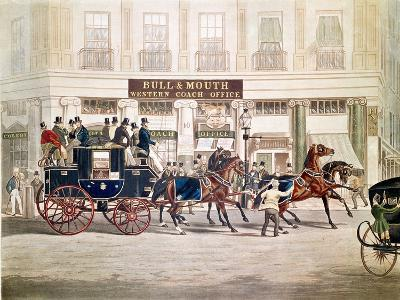 Regent's Circus, Beaufort Coach Starting from the Bull and Mouth-Shayer and Hunt-Giclee Print