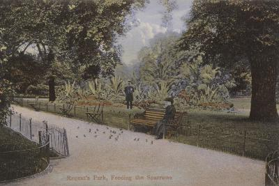 Regent's Park, Feeding the Sparrows--Photographic Print