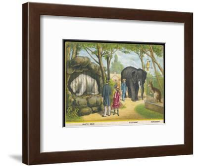 Regent's Park Zoo London Visitors Admire the White Bear the Elephant and the Kangaroo--Framed Giclee Print