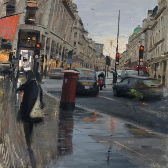 Regent Street in Rain with Taxi, 2018-Tom Hughes-Giclee Print