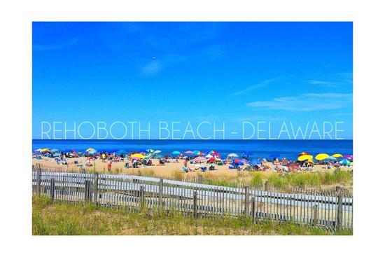 Rehoboth Beach, Delaware - Beach and Umbrellas-Lantern Press-Art Print