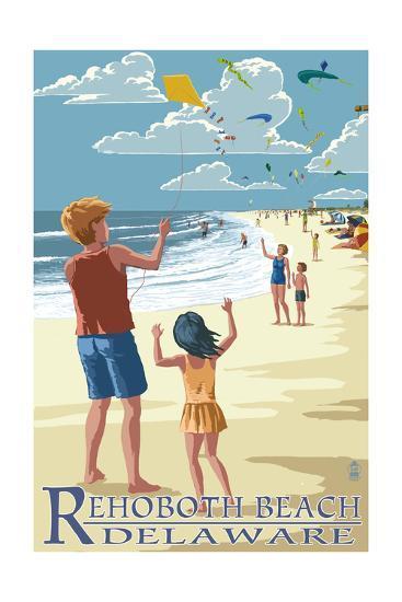 Rehoboth Beach, Delaware - Kite Flyers-Lantern Press-Art Print