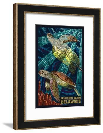 Rehoboth Beach, Delaware - Sea Turtle Mosaic-Lantern Press-Framed Art Print