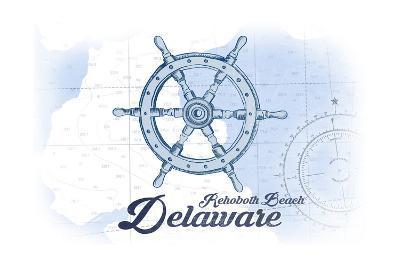 Rehoboth Beach, Delaware - Ship Wheel - Blue - Coastal Icon-Lantern Press-Art Print