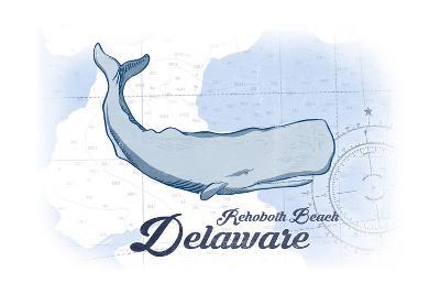 Rehoboth Beach, Delaware - Whale - Blue - Coastal Icon-Lantern Press-Art Print